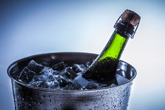 Ice Bucket with ice and champagne Stock Photography
