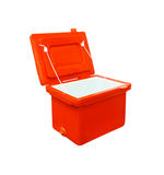 Icebox, Ice bucket orange plastic  Isolated with clipping path, ice buck Stock Photography