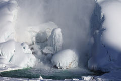 Ice build-up of Niagara Falls, winter of 2015 Stock Photos