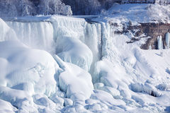 Ice build-up of Niagara Falls, winter of 2015 Stock Image