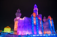 Ice Buildings at the Harbin Ice and Snow World Stock Photos