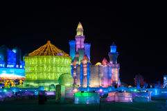 Ice Buildings at the Harbin Ice and Snow World Royalty Free Stock Images
