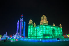 Ice Buildings at the Harbin Ice and Snow World Stock Photography