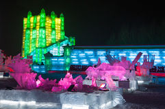 Ice Buildings at the Harbin Ice and Snow World Stock Photo