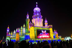 Ice Buildings at the Harbin Ice and Snow World in Harbin China. Some beautiful ice buildings in Harbin China for the 2013 Harbin Snow and Ice Festival. The Stock Photo