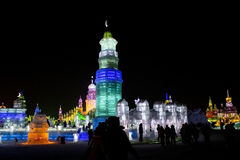 Ice Buildings at the Harbin Ice and Snow World in Harbin China Royalty Free Stock Image