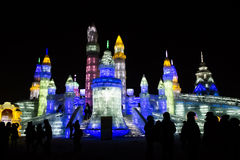 Ice Buildings at the Harbin Ice and Snow World in Harbin China Royalty Free Stock Photos