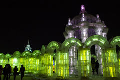 Ice Buildings at the Harbin Ice and Snow World in  Royalty Free Stock Photography