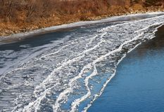 Ice Buildup On Shore Of River In Autumn royalty free stock image