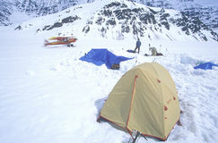 Ice camping on glacier in St. Elias National Park and Preserve, Wrangell Mountains, Wrangell, Alaska Stock Photo