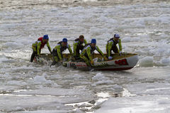 Ice canoe challenge Bota Bota Montreal Stock Photo