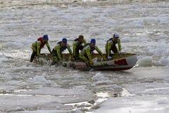 Ice canoe challenge Bota Bota Montreal stock photo