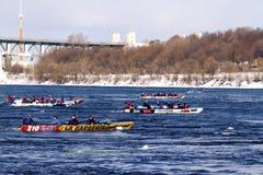 Ice canoe challenge Bota Bota Montreal Stock Images