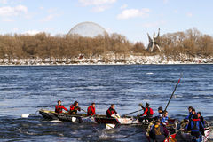 Ice canoe challenge Bota Bota Montreal Royalty Free Stock Photos