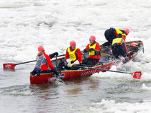 Ice canoes competition during the Carnival of Quebec, Canada Royalty Free Stock Images