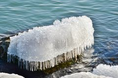 Ice cap shore side boulder Humber Bay Royalty Free Stock Image