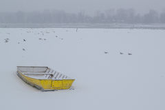 Ice capured yellow boat on frozen Danube river Royalty Free Stock Photos