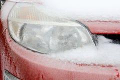 Ice on the car light Stock Photo