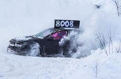 Ice Car Racing. In the winter stock image
