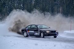 Drifting. Ice Car sport motorcross vehicle track speed action fun Winter Snow Cold Stock Images