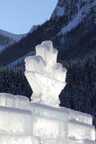 Ice carving in Canadian Rockies. Maple leaf on an ice castle at Lake Louise in the Canadian Rockies stock images