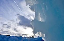 Ice castle in Silverthorne, Colorado. Evening picture of a beautiful ice sculpture in Silverthorne, CO at the ice castles stock image