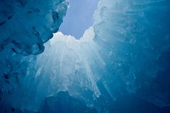 Ice castle in Silverthorne, Colorado. Picture of a beautiful ice sculpture in Silverthorne, CO at the ice castles royalty free stock photo