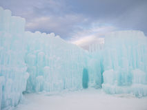 Ice Castle and Sky in New Hampshire Royalty Free Stock Image