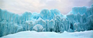 Ice Castles with Fountains stock photography