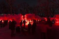 Ice Castles in red. Eden Prairie, MN/USA: January 31, 2016 - People attending the Ice Castles display in Eden Prarie, Minnesota royalty free stock image