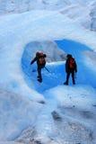 Ice cave. A Mountain climbers at Perito Moreno Glacier, Patagonia, Argentina royalty free stock photo