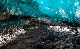 Blue ice cave view during winter in Jokulsarlon, Iceland stock image