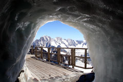 Ice Cave Augille Du Midi. Ice cave at the top of the Alps at the Augille Du Midi, France Royalty Free Stock Image