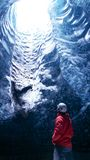 The Ice Cave `Crystal Cave` in Vatnajökull glacier near Hof in Iceland. stock photos