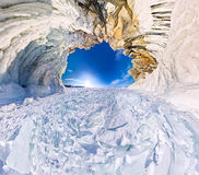 Ice cave grotto Cape shaman on the island of Olkhon, Lake Baikal.  royalty free stock images