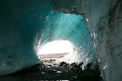 Ice cave of Iceland glacier. Blue ice cave of Iceland glacier Stock Photo