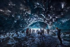 Ice cave iceland stock photo
