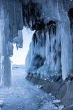 Ice cave on Lake Baikal. Ice cave on island at Baikal Lake, Siberia, Russia royalty free stock photos