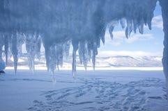 Ice cave on Lake Baikal. Ice cave on island at Baikal Lake, Siberia, Russia stock images