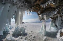 Ice cave on Lake Baikal. Ice cave on island at Baikal Lake, Siberia, Russia stock photos