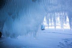 Ice cave on Lake Baikal. Ice cave on island at Baikal Lake, Siberia, Russia stock photography