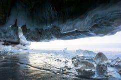 Ice cave of Lake Baikal. Ice cave at Baikal Lake, Siberia, Russia royalty free stock images