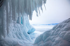 Ice cave. Near siberian lake Baikal in winter stock image