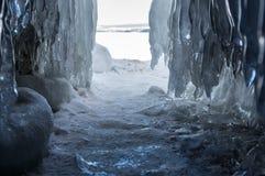 Ice cave on Lake Baikal. Ice cave on Olkhon Island at Baikal Lake, Siberia, Russia royalty free stock images