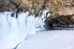 Ice cave on Lake Baikal. Ice cave on Olkhon Island at Baikal Lake, Siberia, Russia royalty free stock image