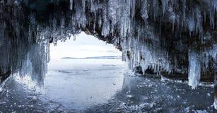 Ice cave on Lake Baikal. Ice cave on Olkhon Island at Baikal Lake, Siberia, Russia royalty free stock photo