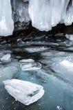 Ice cave on Lake Baikal. Ice cave on Olkhon Island at Baikal Lake, Siberia, Russia stock image