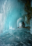 Ice cave. On Olkhon island on Baikal lake in Siberia at winter time royalty free stock images