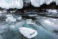 Ice cave on Olkhon Island royalty free stock photos
