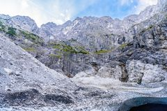 Ice cave under glacier in Alps mountains near Koenigssee, Konigsee, Berchtesgaden National Park, Bavaria, Germany.  stock image